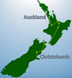 Free Trip Planner New Zealand Auckland to Christchurch