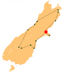 South Island History Trip Route