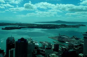 view rangitoto auckland harbour from sky tower