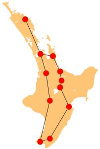 North Island Itinerary Route